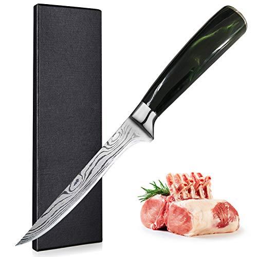 UniqueFire Couteau à Filet de Sole, 6 inch Couteau à Poisson Professionnel, Couteau à Fileter en Acier Inoxydable Allemand, Lame de Couteau Extra Tranchante avec Manche Ergonomique