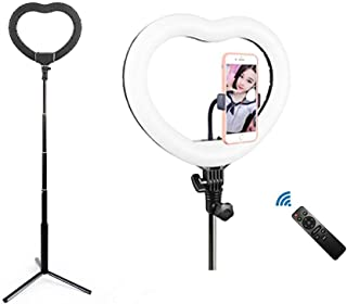 """12"""" Heart Ring Light with Stand & Phone Holder, Dimmable..."""