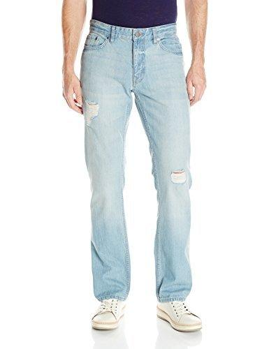 Calvin Klein Jeans Men's Slim Straight Jean, Destructed Blue, 38×32