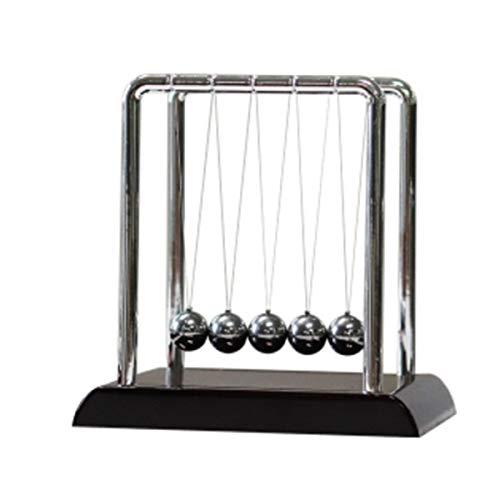 Classic Newton Cradle Balance Balls, Science Psychology Puzzle Desktop Entertainment Gadgets with Black Wooden Base, Medium