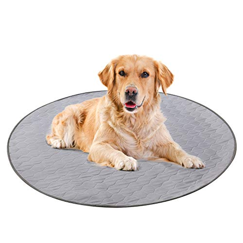 Geyecete Waterproof Dog Mat Non-Slip 2 Pack Puppy Potty Training Pads - Washable Pee Pads for Dogs Reusable Whelping Pads for Dog Crate 3636 inch-Round-Gray