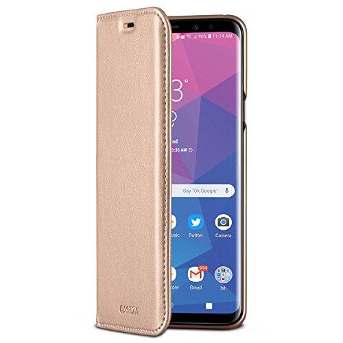 CASEZA Galaxy S9 Plus Flip Hülle Rose Gold Oslo Ultra Schlanke PU Leder Hülle Ledertasche Lederhülle fürs Original Samsung Galaxy S9+ (6,2 Zoll) - Edles Kunstleder Cover mit Magnetverschluss