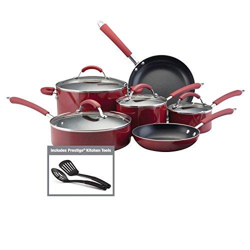 Farberware Millennium Nonstick Cookware Pots and Pans Set, 12 Piece, Red