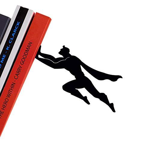 Product Image 8: Decorative Bookends for Shelf or Desk – Black Metal Book Ends – Superhero Bookend – Book Ends for Office – Cool Super Hero Book Stopper / Book Holder / Shelf Dividers – Book & Hero by Artori Design