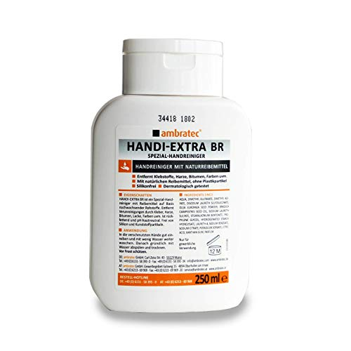 Ambratec HANDI EXTRA BR 250 ml, Spezial Handreiniger gegen Klebstoffe, Harze uvm,Löst, Harze, Bitumen, Lacke,