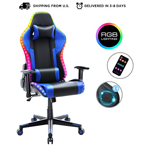 Gaming Chair with Bluetooth Speakers, Music Video Game Chair with RGB LED Lights, Ergonomic High Back Computer Chair PU Leather, 180 Degree Reclining Swivel Chair (Blue)