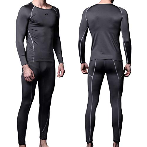 FITEXTREME Mens MAXHEAT Soft Fleece Long Johns Thermal Underwear Set Grey XL