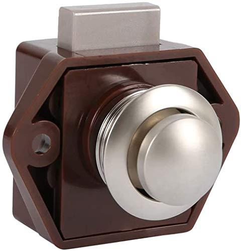 POFET Cierre de botón para puertas sin llave, para caravanas, caravanas, autocaravanas, autocaravanas, autocaravanas, color marrón