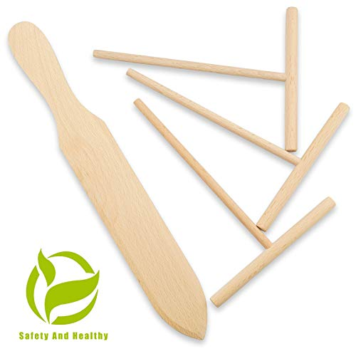 Prowithlin 4 Piece Crepe Spreader and Spatula Set, Crepes Maker Made Of 100% Natural Beech Wood, 12' Crepe Spatula and 4.7' Crepe Spreader, Crepe Pan Dosa Pan Accessories Crepe Tools
