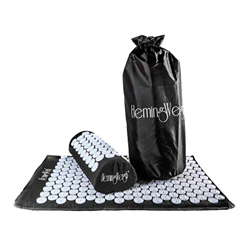 Hemingweigh Acupressure Mat and Pillow Set for Pain Relief, Stress Relief, Muscle Relaxation, and Overall Well-Being + Tote Bag (Black)