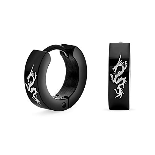 Tiny Asian Style Dragon Black Huggie Hoop Kpop Earrings For Men Women Laser Etched Ip Plated Stainless Steel