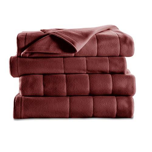 Sunbeam Heated Blanket | 10 Heat Settings, Quilted Fleece, Garnet, Twin