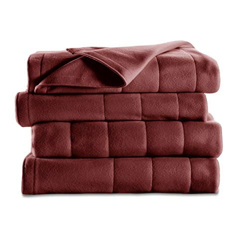 Sunbeam Heated Blanket | 10 Heat Settings, Quilted Fleece, Garnet, Queen - BSF9GQS-R310-13A00