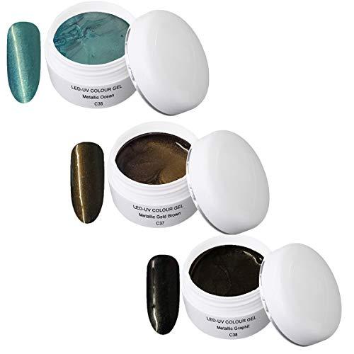 UV Gel coloré Metallic Set 6 - UV Colour metallic Gel - (3x5ml) C35 Metallic Ocean 5ml, C37 Metallic Gold Brown 5ml, C38 Metallic Graphit 5ml