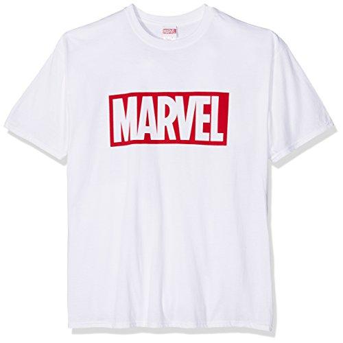 Marvel Herren Core Logo T-Shirt, weiß, L