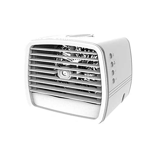 JIASHIQI Mini Fans Air Conditioner,3-in-1Portable Air Cooling Fans 7-color LED Multi-function Humidifier Purifier USB Desktop Air Cooler Fan With Water Tank Home (Color : White)
