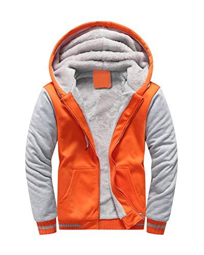 Yesgirl Herren Kapuzenpullover mit Reißverschluss Winter Warm Fleece Langarm Kapuzenjacke Sweatshirt Plus Dicke Hoodie Fleecejacke Sweatjacke Mit Kapuze B Orange XX-Large