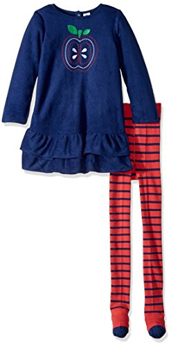 Gerber Baby Fleece Dress With Tights, apple, 3-6 Months