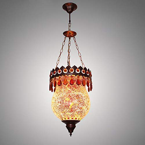 DALUXE Colgante de Boho marroquí, Turco Multicolor Colgando Landelier Lantern Lampshade DIY Mosaic Tiffany Techo por más Tiempo, para Sala de Estar