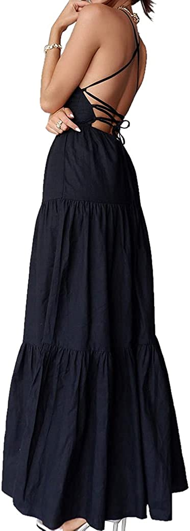 Women's Summer Strappy Backless Evening Maxi Boho Max 76% OFF Long Dre Party Dedication