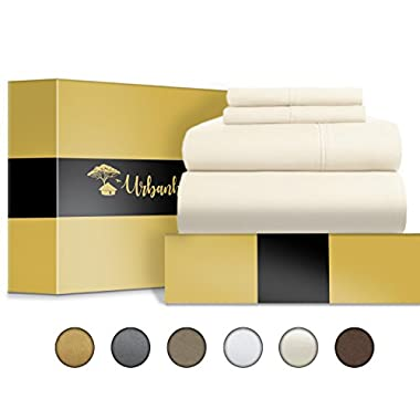 Urban Hut Egyptian Cotton Sheets Set (4 Piece) 1000 Thread Count - Bedspread Deep Pocket Premium Bedding Set, Luxury Bed Sheets for Hotel and Home Collection Soft Sateen Weave (King, Ivory)