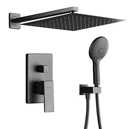Modern shower faucet set, Rain shower systems with rain shower and handheld, Shower trim kit with rough-in diverter valve, Luxury rainfall shower kit, Shower combo set (Matte Black)
