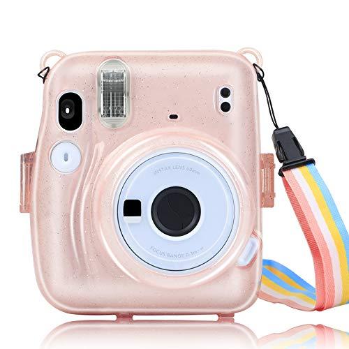 Custodia protettiva per fotocamera istantanea Fuji Instax Mini 11 in PC rigido trasparente con cinghia rimovibile e colore trasparente (rosa)