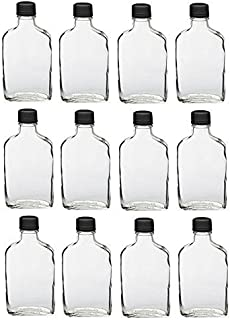 Nakpunar 12 pcs Glass Flask Bottles with Black Tamper Evident Cap - 200 ml