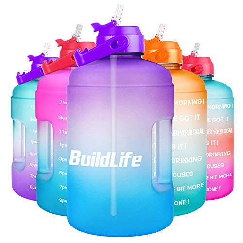 BuildLife 1 Gallon Water Bottle -Leakproof Straw Lid BPA Free Water Jug with Motivational Time Marker & Phone Holder Handle to Remind You Drink Enough Water Throughout The Day for Goals