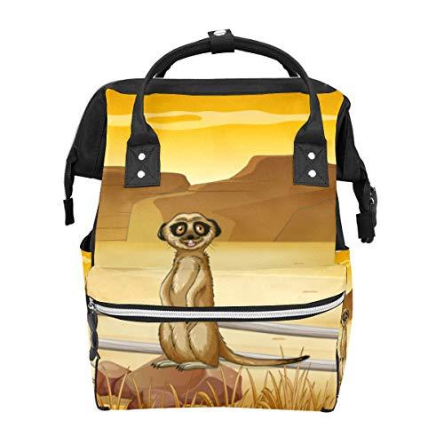Schulrucksack Erdmännchen stehend in der Wüste große Kapazität Mumien-Taschen Laptop Handtasche lässiger Reise-Rucksack für Damen Herren Erwachsene Teenager Kinder