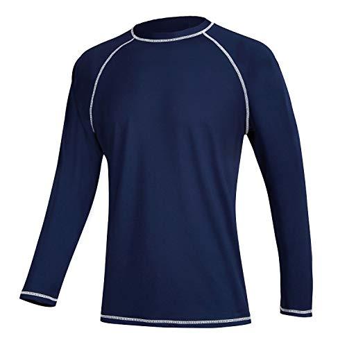 Satankud Men's Swim Shirts Rashguard Sun Shirt UPF 50+ UV Sun Protection Outdoor Long Sleeve T-Shirt Swimwear Navy Blue L