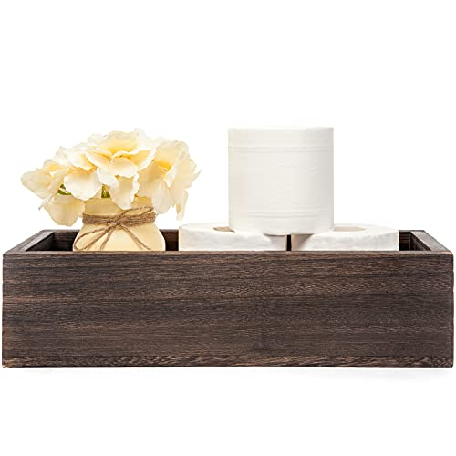 Mkono Bathroom Decor Box Toilet Paper Holder Wood Tank Box Storage Basket with Mason Jar and Flower Bathroom Kitchen Table Countertop Funny Farmhouse Rustic Home Decor,Yellow
