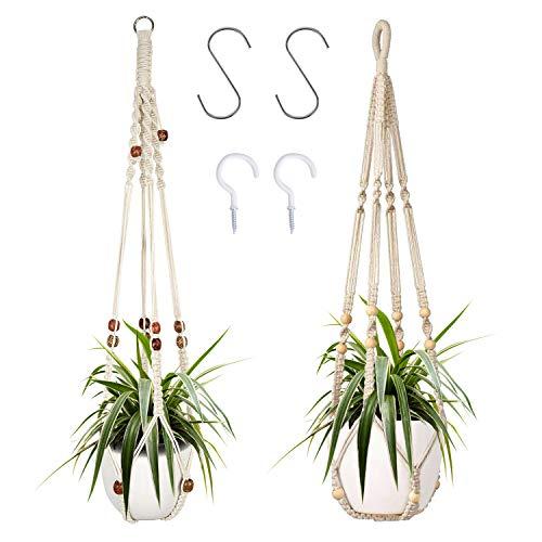 2er Set Makramee Blumenampel Baumwollseil Hängeampel Blumentopf Pflanzen Halter Aufhänger für Innen Außen Decken mit 4 Haken