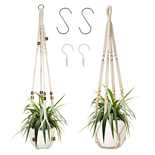 2 Packs Macrame Plant Hangers, Indoor Hanging Planter Basket with Wood Beads...