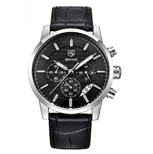 BENYAR - Reloj deportivo para hombre, cronógrafo, resistente al agua, para hombre, de piel auténtica, color negro