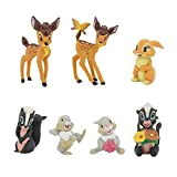 7 Pcs Cartoon Bambi Figurines Classic Movie Characters Figure Collectible Fawn Animal Figurines Cake Toppers Plant Automobile Decorations