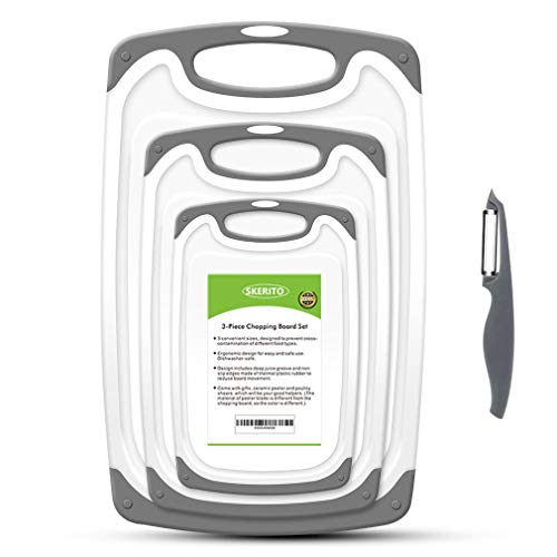 SKERITO Chopping Board Set, BPA Free Plastic Kitchen Cutting Boards with Non-Slip Feet and Deep Drip Juice Groove, Set of 3, Gray