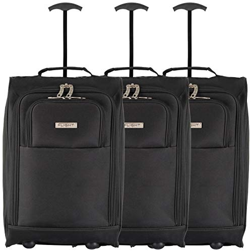 Flight Knight 55x35x20cm Koffer Set x 3 Leichtgewicht Handgepack Kabinentrolley Rollkoffer Gepack Reisetasche Bordgepack mit Radern fur Easyjet, Ryanair, Air Berlin, Jet 2 und viele andere Airlines