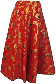 SNEH Women's Brocade Silk Floral Print Skirt (Red,Free Size)