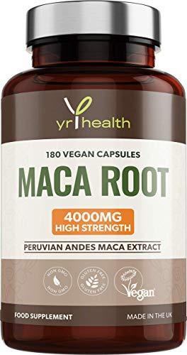 Maca Root Capsules 4000mg - 180 Vegan High Strength Puruvian Maca Root Extract Capsules - 6 Month Supply - Made in The UK by YrHealth