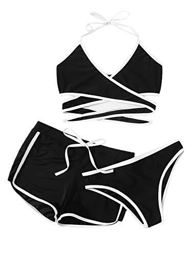 SweatyRocks Women's Sexy Wrap V Neck Halter Top with Shorts 3 Piece Bikini Set Black L