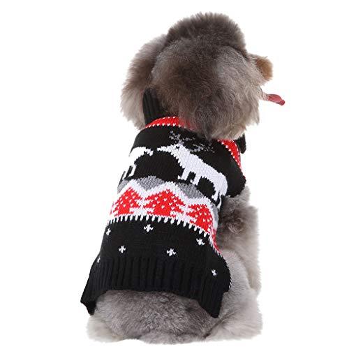 Yowablo Haustier Katze Hund lässig Weihnachten Weste Pullover Winter warme Kleidung Kleid Kleidung (M,17- Dunkelblau)