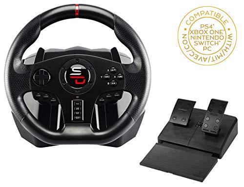 Superdrive - Volante SV700 con pedali, palette del cambio e vibrazioni - PS4, Xbox One, Switch, PC, PS3 (compatibile con tutti i giochi)