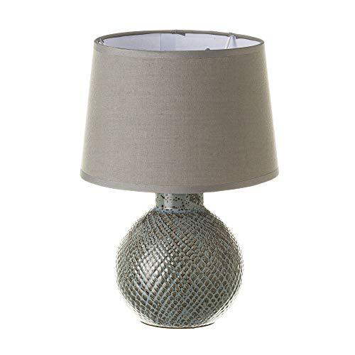 Lámpara de mesita de noche con bola shabby chic de cerámica gris de 28x20x20 cm
