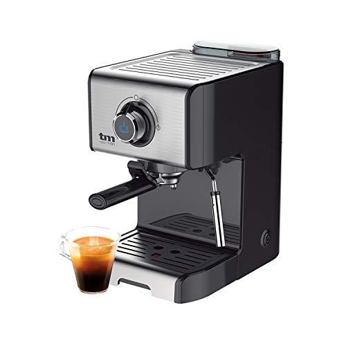 TM Electron TMPCF101 cafetera Espresso Manual con 15 Bares de presión, 1200W, depósito 1,2 L, espumador de Leche, 3 Funciones, Fabricado en Acero Inoxidable, 1 Cups