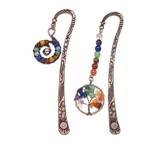 CrystalTears Metal Bookmark-Vintage Bronze Star Sun Moon Rune w/ 7 Chakra Beaded Spiral and Tree of Life Charms Pendant (2pcs)
