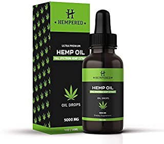 Hempered Organic Hemp Oil Drops 5000mg - for Pain Relief Anti-Inflammatory Stress & Anxiety Relief Joint Support 100% Natural Hemp Oils
