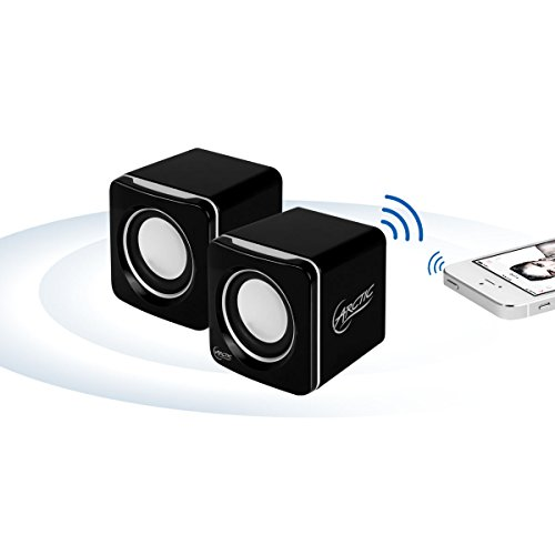 ARCTIC S111 BT - Portable speakers with USB connection, mini speakers with convincing sound quality for desktop PC, up to 12h battery life, compact design - Black