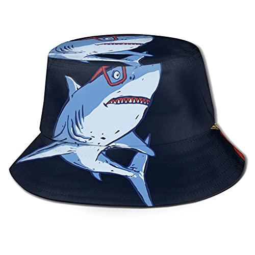 Yearinspace Sombrero de pescador tiburón y chips moda plegable portátil Sun Caps Unisex al aire libre para jardinería protección UV