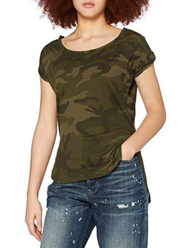 Urban Classics Ladies Back Shaped tee Camiseta, Olive Camo, M para Mujer